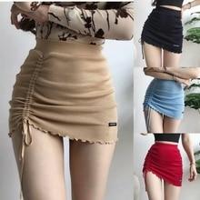 XIBANI Irregular high waist elastic short skirt tight package hip side drawcord