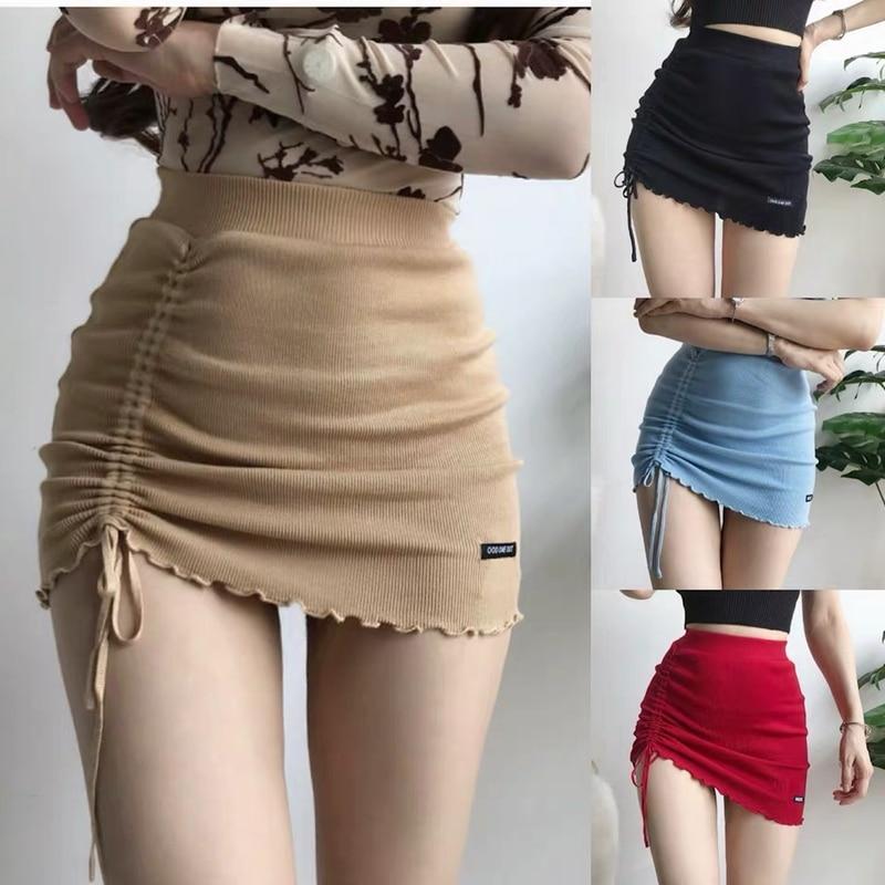 XIBANI Irregular High Waist Elastic Short Skirt Tight Package Hip Side Drawcord Knitted Mini Skirt Sexy Fashion Street