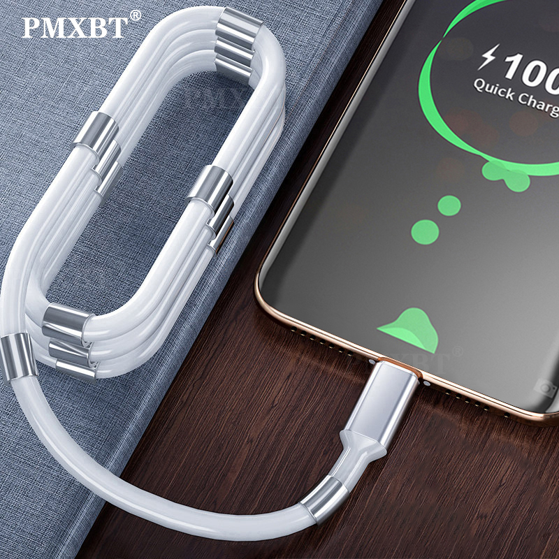 2020 New Magnetic Self Winding USB Charging Cable For Mobile Phone Magnet Auto Adsorption Cable 3ft TypeC Mirco USB Charger Cord