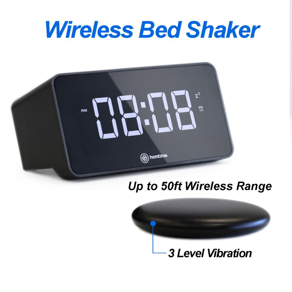 homtime V2 virbration speaker table alarm clock bed shaker deaf USB charger bass shaker large dimmable LCD screen NEW arrival