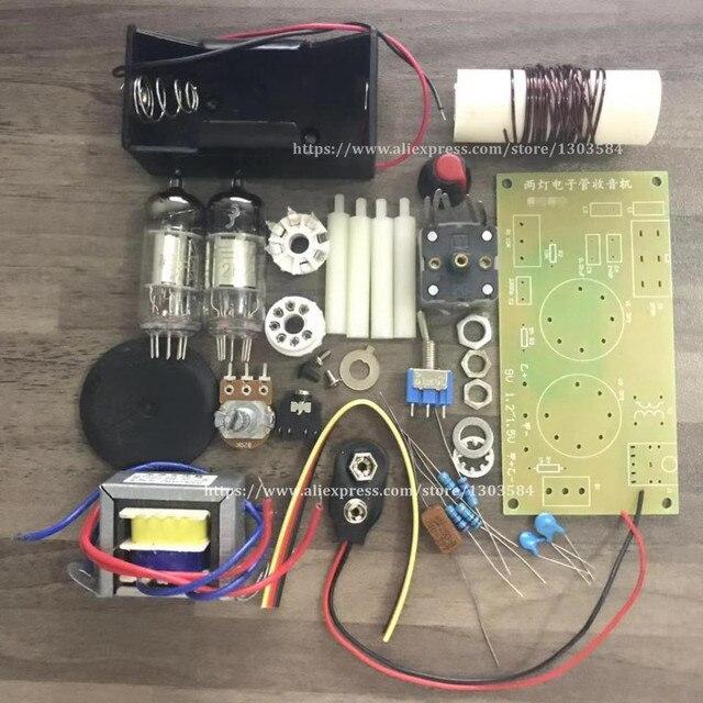 1 قطعة/الوحدة التجدد أنبوب راديو عدة تيار مستمر اثنين أضواء قصيرة/متوسطة موجة أنبوب راديو عدة AM مع PCB مجلس شحن مجاني