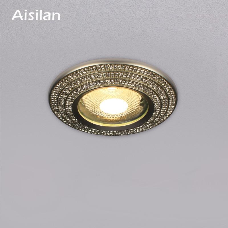 Aisilan Светодиодный точечный светильник, светодиодный, искусственный кристалл, бриллиант, антибликовый алюминиевый сверкающий Встраиваемый ...