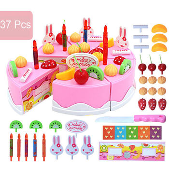 DIY Birthday Cake Model Toy 37PCS/Set Play Food Child Kids Early Educational Toys Parent-child Interaction ou fs8 multifunction early childhood educational music robot toy w interaction led white pink