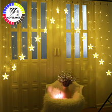 Coversage Christmas Star Curtain Garlands Fairy Led String Lights Wedding Curtain Outdoor Decorative Xmas Party Lights 4 5x3m christmas garlands led string christmas net lights fairy xmas party garden wedding decoration curtain lights