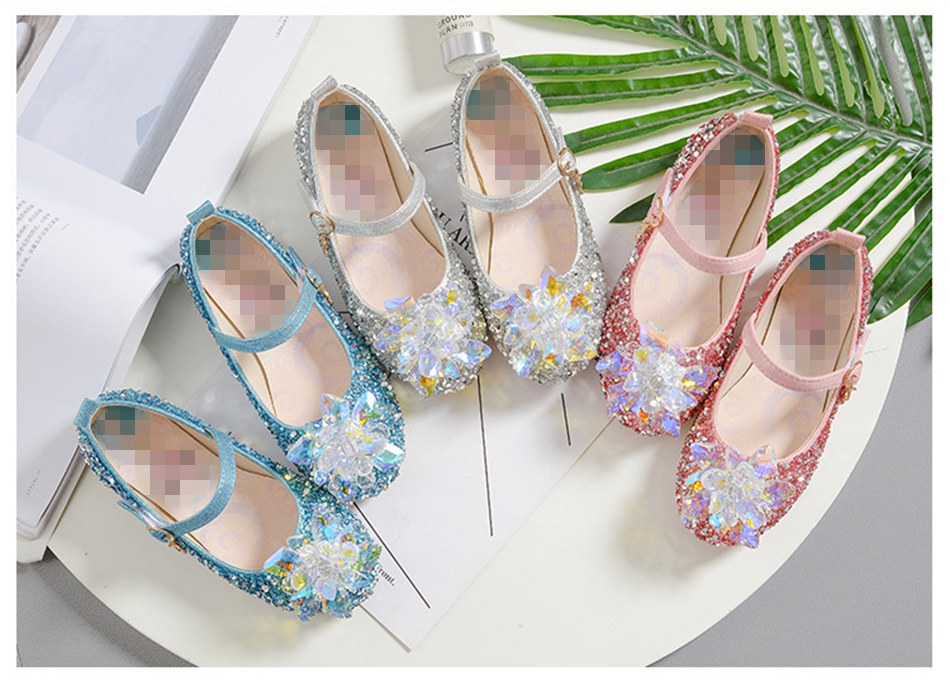 MUABABY Elsa Princess Sandals for Girls Glitter Flat Shoes Baby Crystal Snowflake Elza Shoes Halloween Dancing Party Accessories