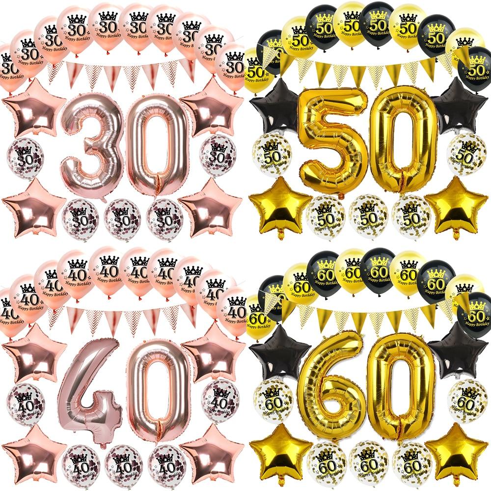 Надувные конфетти воздушные шары на день рождения, 16, 18, 21, 30, 40, 50, 60, 70, 80, 90 лет, розовые, золотые, вечерние, украшения для взрослых