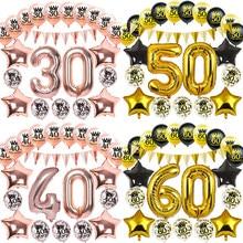 Aniversário inflável confetes limpar balões 16 18 21 30 40 50 60 70 80 90 ano rosa ouro decoração festa adulto bola de hélio