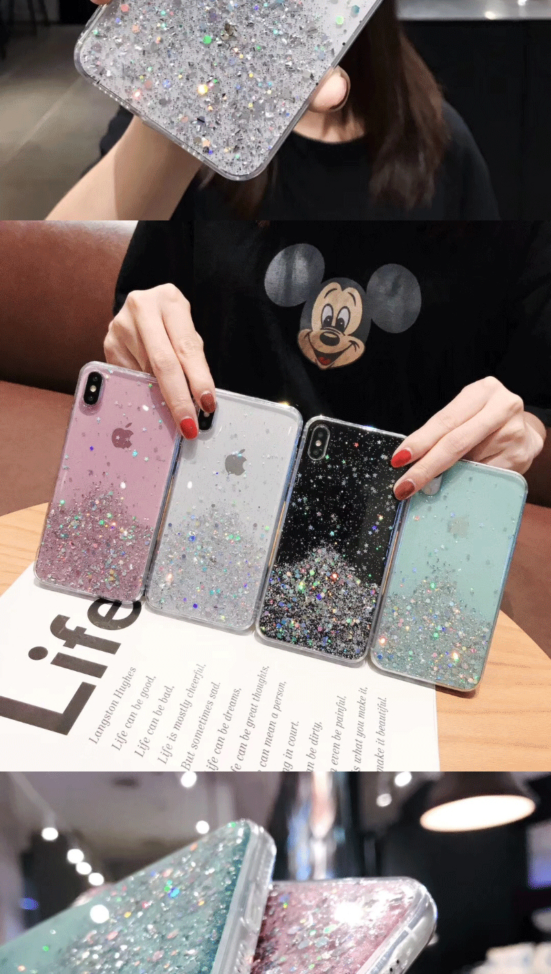 Ha5dbd53853a042ce87c7dfd3d26ee150B - Solid quicks Case For iphone 11 8 7 Plus 6 6s Glitter Bling Sequins Epoxy Star Case For iphone 11 Pro MAX X XR XS Soft TPU Cover