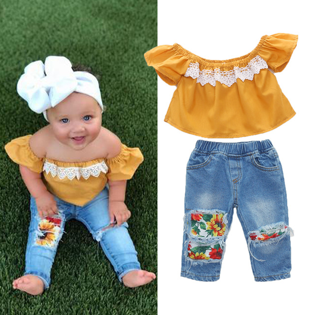 2020 Baby Girl Clothes Summer Tracksuit For Children Clothing Girls Sets T-shirt+Broken Hole Jeans Kids Clothes 1 2 3 4 5 6 Year 4
