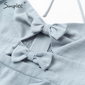 Image 5 - Simplee Sexy bow hollow out summer women blouse shirts Beach ruffles vintage blue tops Backless lace up twist mujer blusas
