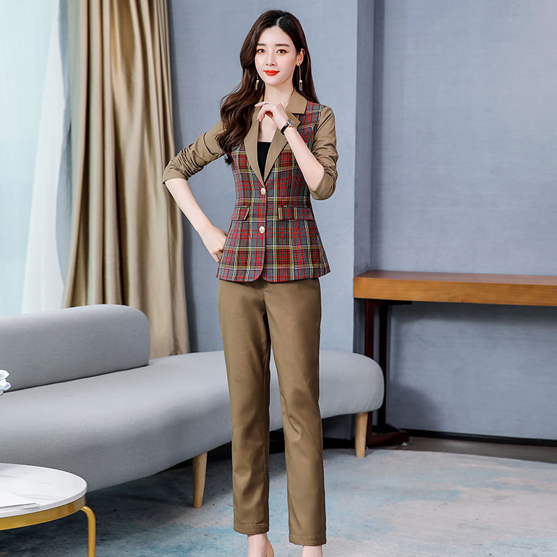2020 Spring New Style Retro Plaid Fashion Casual Slimming Street Business Elegant British Style WOMEN'S Suit