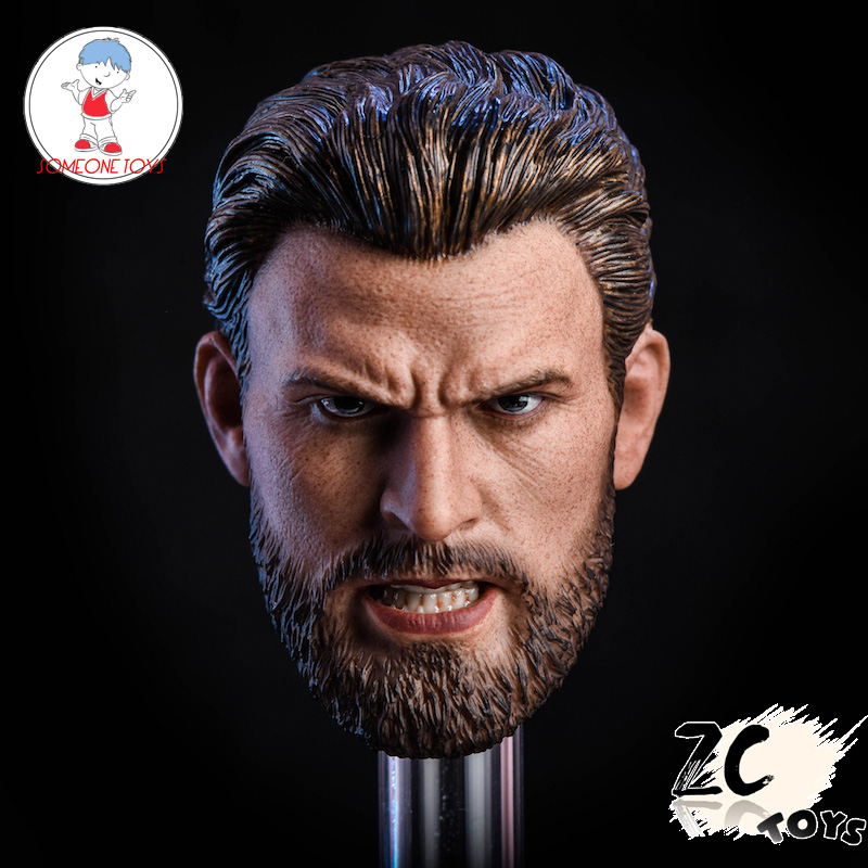 Zctoys T07 <font><b>1/6</b></font> <font><b>Bearded</b></font> Captain America Head Sculpt Angry/normal Version Steven Rogers for 12inch Male Action Figure DIY image