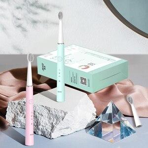 Image 5 - Seago электрическая зубная щетка USB перезаряжаемая звуковая зубная щетка для женщин и девочек с 3 мягкими щеточными головками подарочная коробка