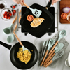 6color silicone cooking utensils set non-stick spatula shovel wooden handle cooking tools set with storage box kitchen tools