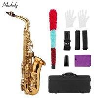 Muslady Golden Eb Alto Saxophone Sax Brass Body White Shell Keys Woodwind Instrument with Carry Case Gloves Set