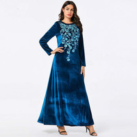 Ramadan Hijab Abaya Dantel Dubai Muslim Wedding Dress Vestidos Party 9149 Big Women's Embroidery Long Long Skirt