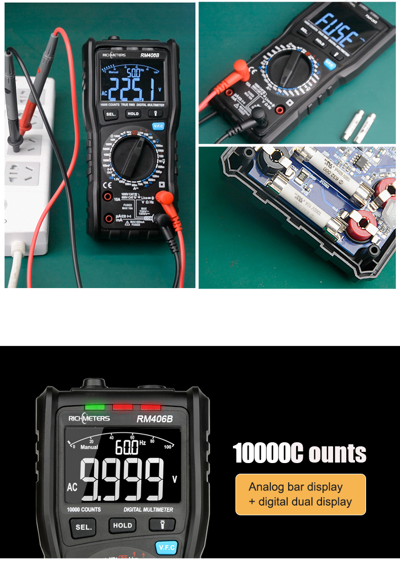 RM406B Digital Multimeter with 10000 Counts and Anti Burn Alarm for AC Voltage and Current Frequency Test 13