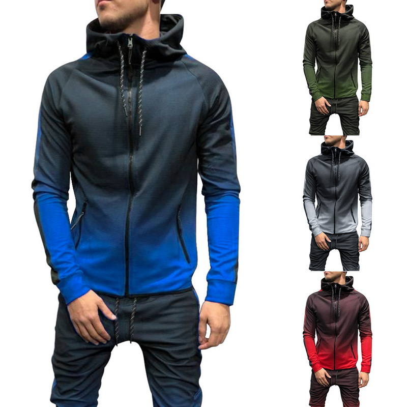 SHUJIN Spring Casual Men Tracksuit Sets Fashion 3DGradient Sweatsuit Hoodies Sweatshirt Sweatpants Slim Joggers Gym Pants Suit
