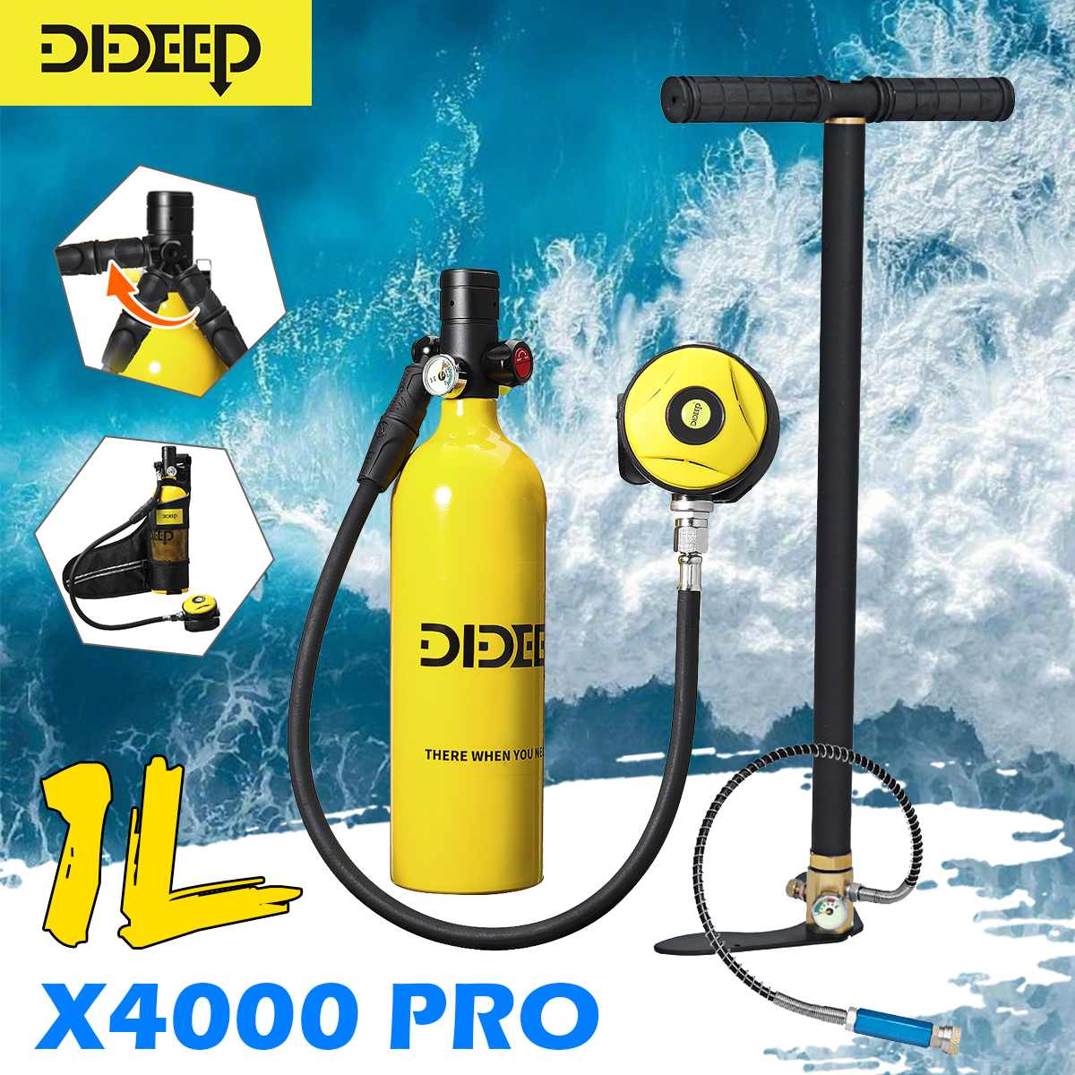DIDEEP 1L Scuba Diving Cylinder Mini Oxygen Tank Set Dive Respirator Air Tank Hand Pump for Snorkeling Breath Diving Equipment