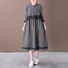 Seebeauty, nueva moda de Primavera de 2020, vestido holgado por encima de la rodilla de encaje con botones de manga larga y cuello redondo a cuadros para mujer W034
