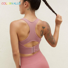 Colorvalue Racerback Seamless Padded Sport Fitness Bras Women High Impact Nylon Yoga Gym Workout Top with Adjustable Buckle