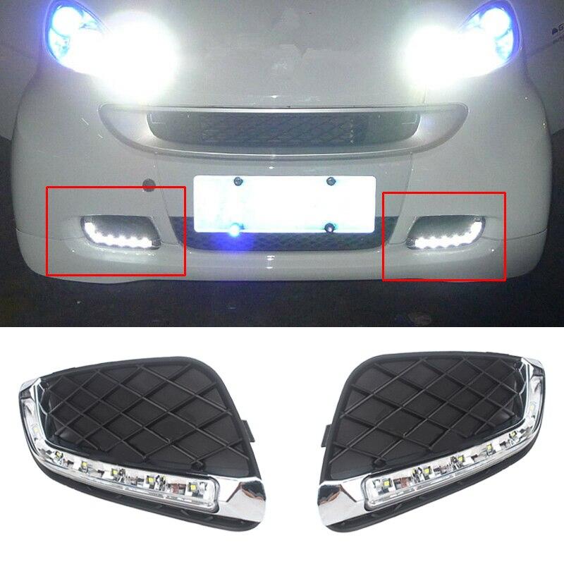 DWCX 2 stücke Kühlergrill LED Auto Tagfahrlicht Nebel Lampe DRL Fit Für Mercedes Benz Smart Fortwo 2008 2009 2010 2011