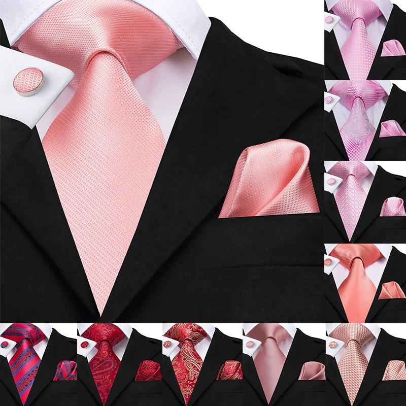 Hit-Tie 2019 Coral 8.5cm Men's Ties Hanky Cufflinks Set Large Silk Ties For Men Pink Plaid Coral Luxury Wedding Party Necktie