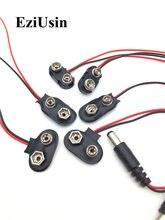 10 pçs 6f22 9v adaptador de bateria snap conector clipe de fios de chumbo titular dc 5.5*2.1 jack clipe de cabo de alimentação para arduino diy jack