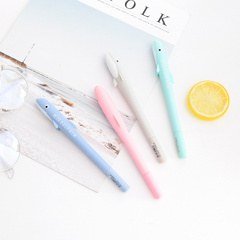 1 Pcs Silica Gel Gel Pens Dolphin Gel Pens Writing Signing Pen School Office Supply Student Stationery Kids Rewarding 0.5