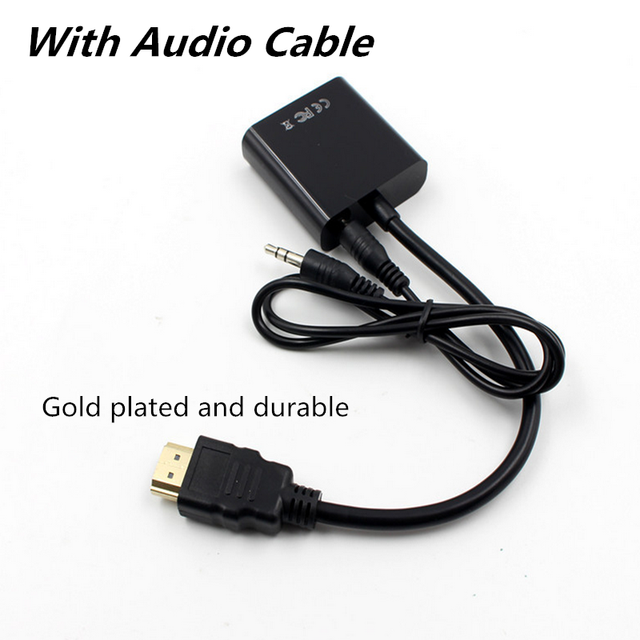 HDMI TO VGA adapter with audio cable HDMI splitter to VGA converter Digital Analog HD 1080p For PC Laptop Tablet HDMI cable 2