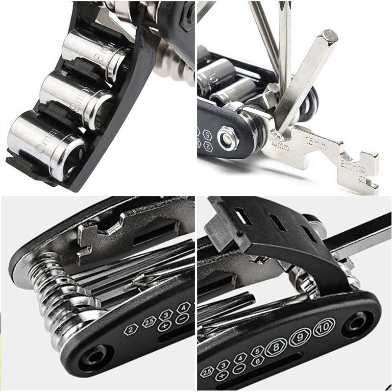 ROBESBON 16 in1 Multi-function Bike Bicycle Cycling Repair Tools Kits w// Wrench