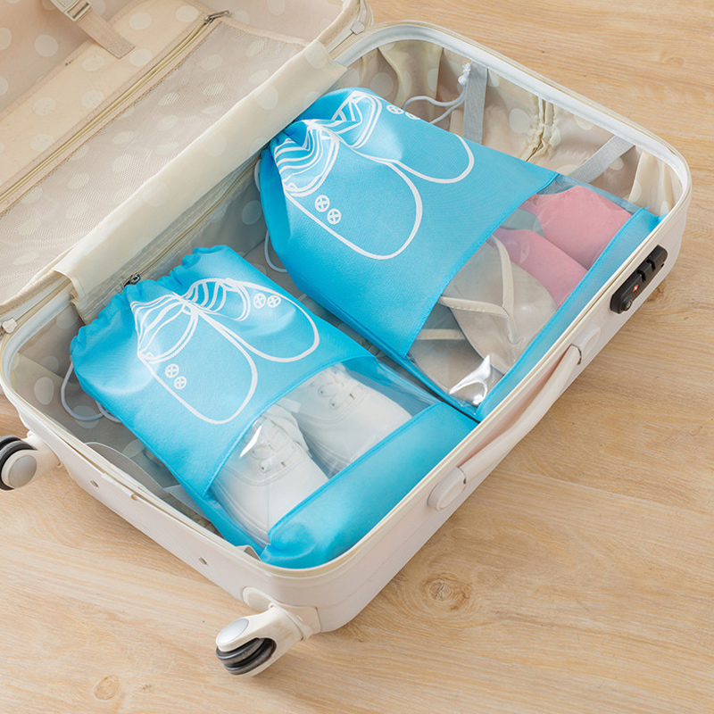 Portable Organizer Shoes Storage Bag With Drawstring Dustproof Hanging Save Space Travel Supplies  EDF88