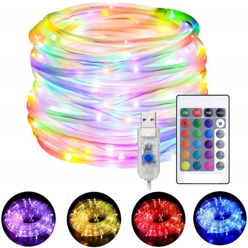 LED Rope Lights Changing String Lights 4 Modes 16 Colors USB Powered Rope Tube Light With Remote Waterproof For Christmas Party