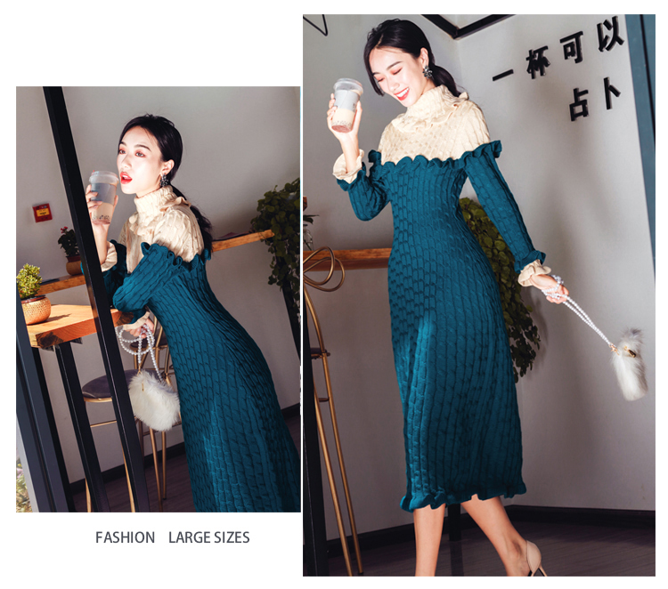 High quality 2019 Winter Turtleneck Hit color Knitted Sweater Dress Sweet Ruffles Women Elastic Bodycon Lady Dresses Vestidos 18