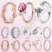 Clásico 100% Plata de Ley 925 corona princesa Tiara espumosos amor corazón CZ anillos para las mujeres joyería de compromiso aniversario