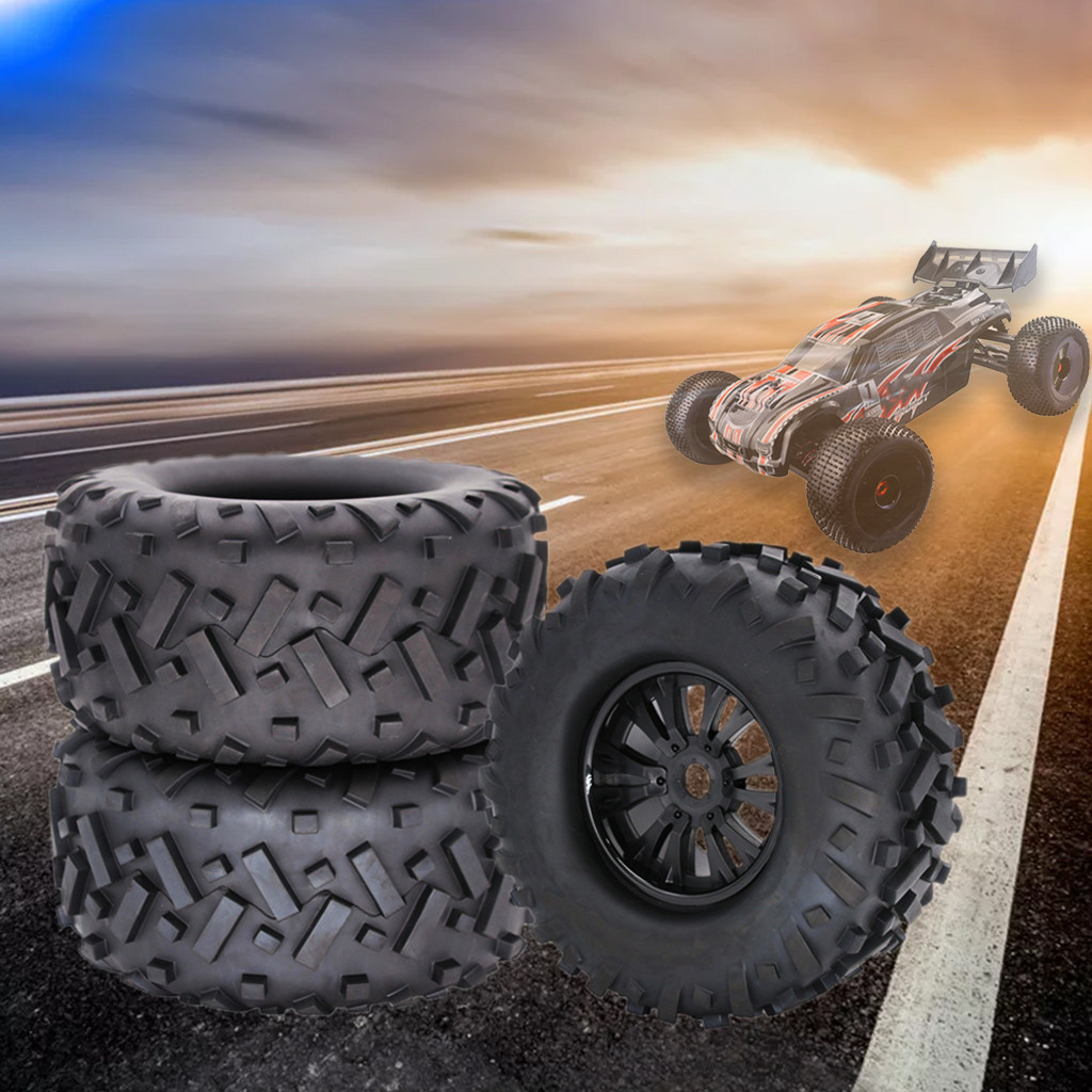 2pcs 170mm Truck Wheel Rim and Tire For 1/8 Traxxas HSP HPI RC Crawler Car