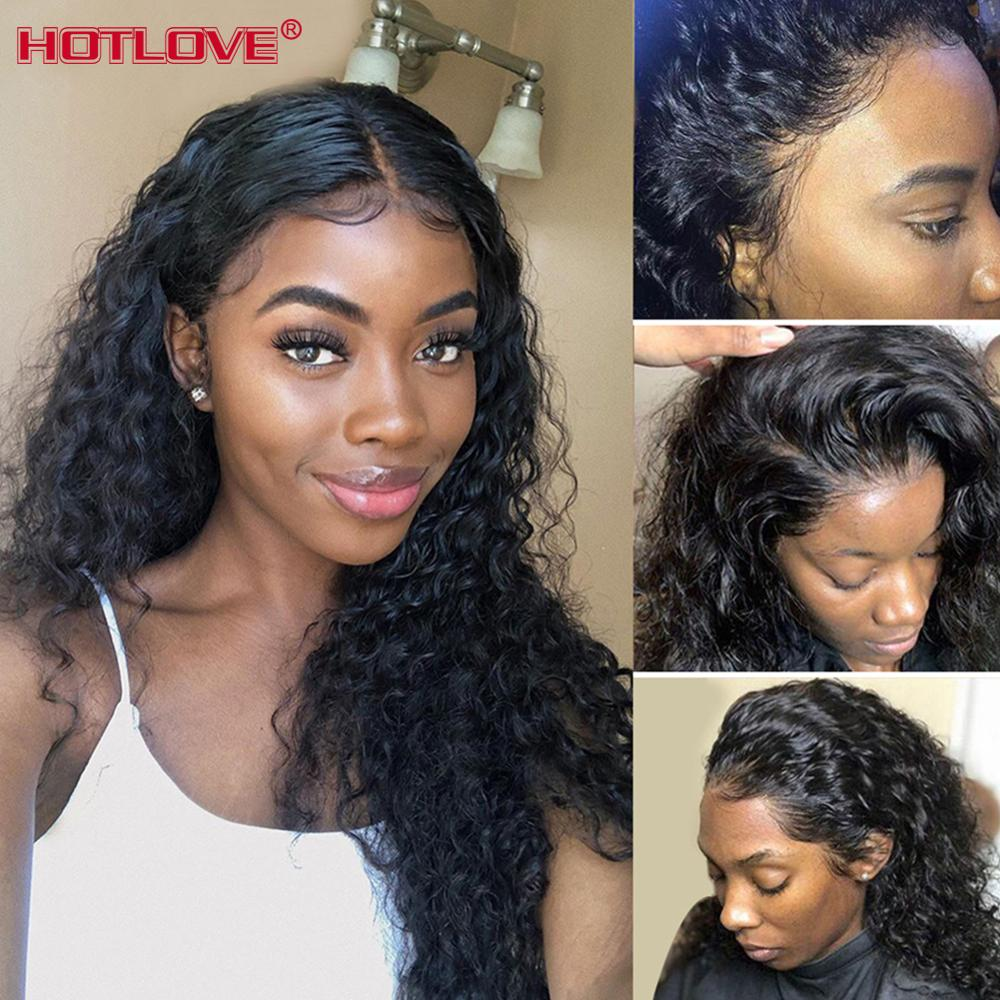 Water Wave Lace Front Human Hair Wigs With Baby Hair Pre Plucked 8-24