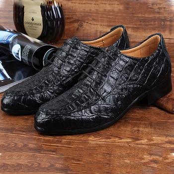 Genuine Leather Oxford Shoes Formal Business Men Crocodile Shoes Lace Up Men's Dress Shoes Wedding Shoes Man Plus Size цена 2017