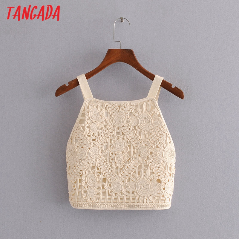 Tangada Women Embroidery Camis Top Spaghetti Strap Sleeveless Backless Short Blouses Shirts Female Casual Solid Tops 3H598