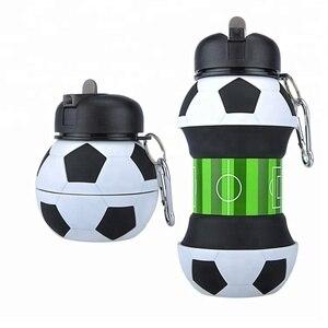 Image 1 - ความแปลกใหม่ฟุตบอลกีฬาน้ำขวดฟางพับเก็บได้ซิลิโคนท่องเที่ยวขวดของฉันนวัตกรรมCamping 550ml H1224