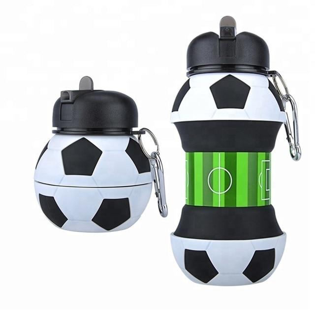 ความแปลกใหม่ฟุตบอลกีฬาน้ำขวดฟางพับเก็บได้ซิลิโคนท่องเที่ยวขวดของฉันนวัตกรรมCamping 550ml H1224
