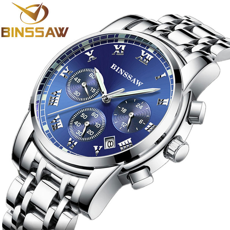 BINSSAW New 2020 Men Quartz Stainless Steel Fashion Sports Watch Luminous Calendar  Original Luxury Brand Relogio Masculino
