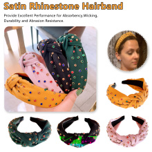 Bohemian Fabric Satin Knotted Wide Hairband Colored Rhinestone Knot Headband Hair Accessories Jewelry