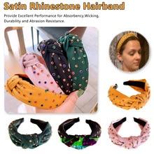 Bohemian Fabric Satin Knotted Wide Hairband Colored Rhinestone Knot Headband Hair Accessories Jewelry