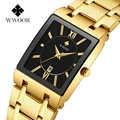 WWOOR Luxury top brand watch Men Rectangle Watches Genuine Stainless Steel Golden Watches Fashion Business Quartz Wristwatches