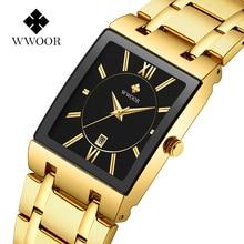 WWOOR роскошные часы топ бренда, мужские прямоугольные часы из натуральной нержавеющей стали, золотые часы, модные деловые кварцевые наручные часы