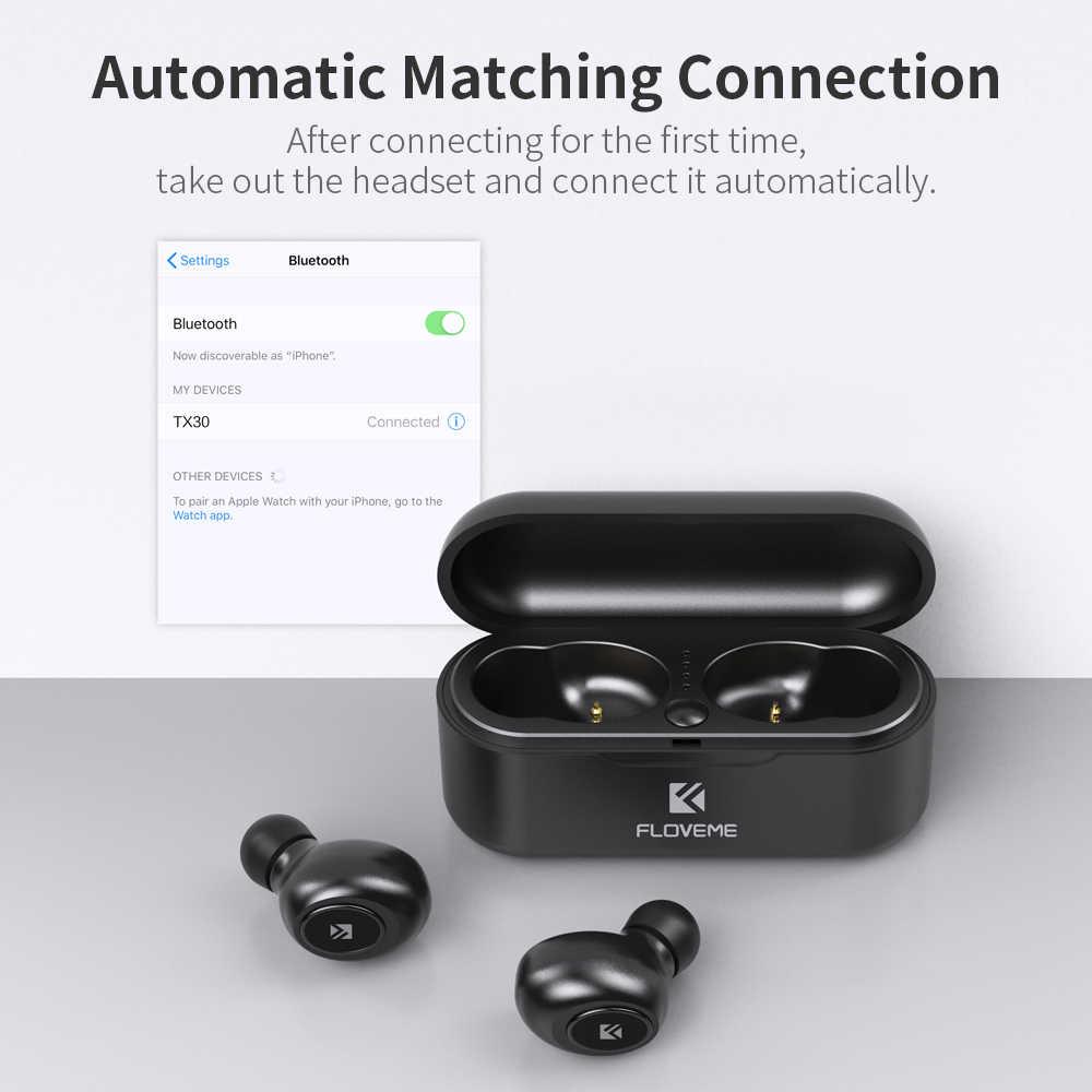 FLOVEME Bluetooth bezprzewodowe słuchawki douszne Mini TWS5.0 słuchawki sportowe słuchawki 3D dźwięk radia douszne mikro etui z funkcją ładowania