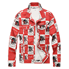 Jean Jacket Denim Coat Long-Sleeve Outerwear Printed Men's Fashion Slim Sokotoo Skull