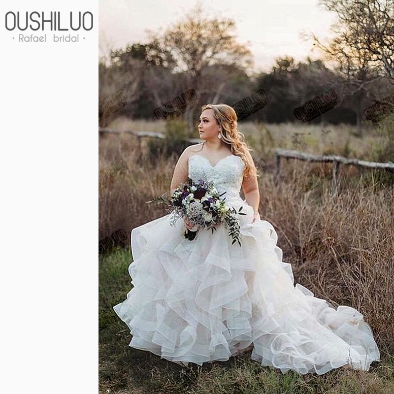 Country Ball Gown Wedding Dress For Chubby Women Sweetheart Off Shoulder Wedding Dresses Plus Size Wedding Gown Tiered Ruffles