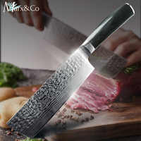 Kitchen knife 7 inch Japanese Chef Cleaver Knife 7CR17 440C High Carbon Stainless Steel Imitation Damascus Drawing Meat Santoku